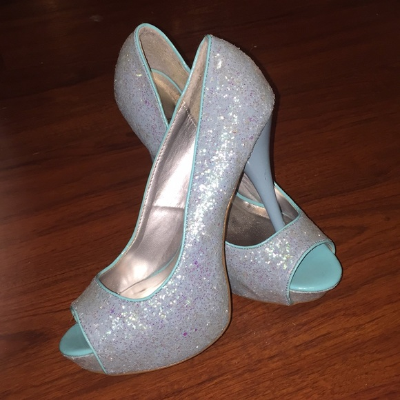 a333ed4f0b Tiffany blue sparkle heels